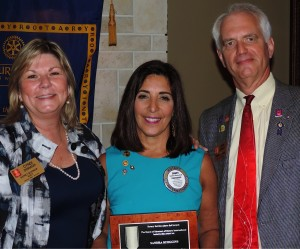 Left to Right: Cyndi Dorah, District Governor Elect, Sandra Hemstead, President Rotary Club of Bonita Springs, and Pete Doragh, District Governor, Rotary District 6960